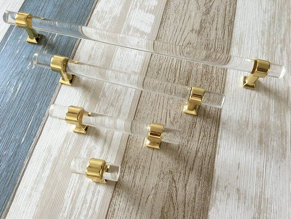 Lucite Knob Acrylic Drawer Pull Cabinet Knob Pulls Handle Glass Crystal Look Lucite Knobs Dresser Handle Silver Gold Kitchen Lynns Graceland