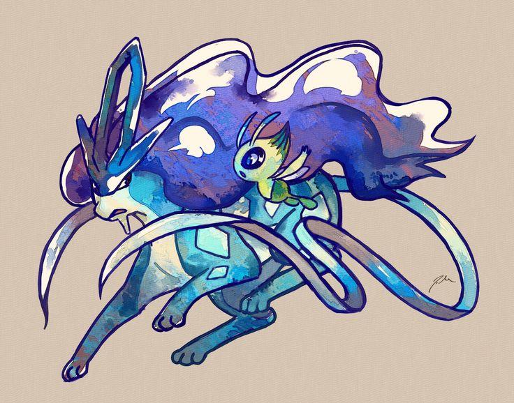 Suicune and Celebi by bluekomadori.deviantart.com on @DeviantArt