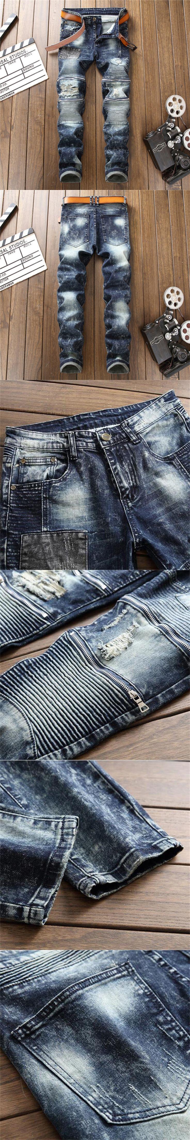 2017 New Cotton European American style zipper Fashion Men's Casual knees holes Patches Biker jeans men #8004