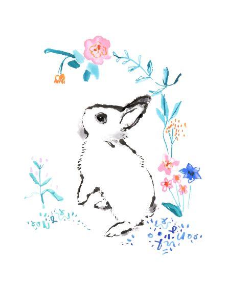 Charlotte Maddison Illustrator rabbit dwarf hotot floral illustration. £15 free UK delivery. Posts worldwide.