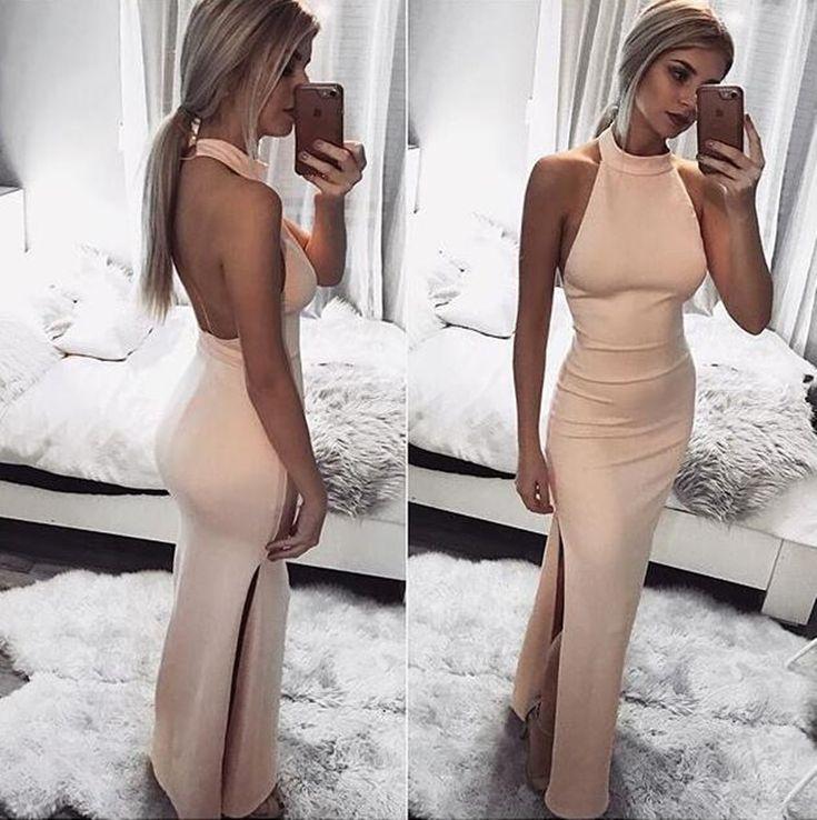 2018 Charming Backless Long Prom Dress, Sexy Sleeveless Evening Dress, Floor Length Halter Prom Dresses, PD0422