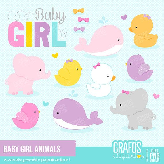 BABY GIRL ANIMALS - Digital Clipart Set, Animals Clipart, Zoo Clipart.