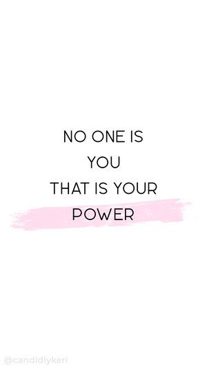 """No one is you that is your power"" quote inspirational background wallpaper you can download for free on the blog! For any device; mobile, desktop, iphone, android!"