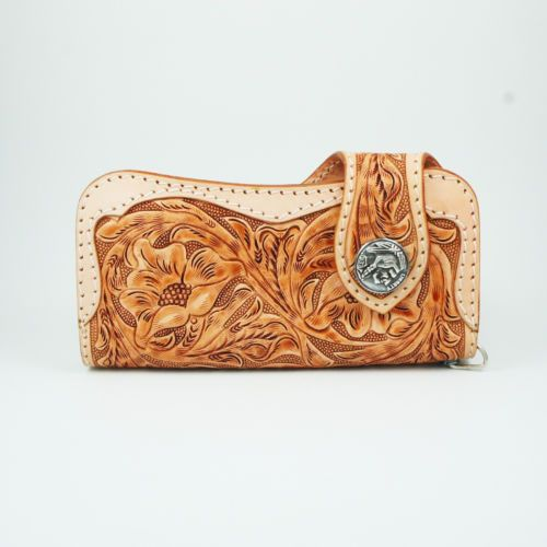 LIGHT BROWN HAND CARVED COW LEATHER HANDCRAFTED Men's BIKER BIFOLD LONG WALLET