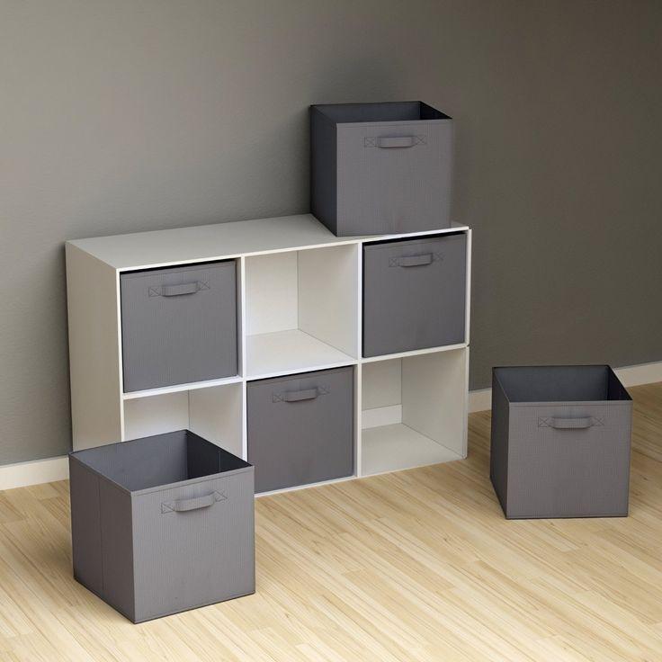 Amazon.com: Closet Organizer - Fabric Storage Basket Cubes Bins - 6 Grey Cubeicals Containers Drawers: Storage & Organization