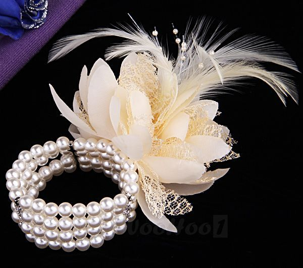 unique wrist corsage ideas | ... Wedding Prom Faux Pearl Beads Feather Corsage Wrist Flower Bracelet