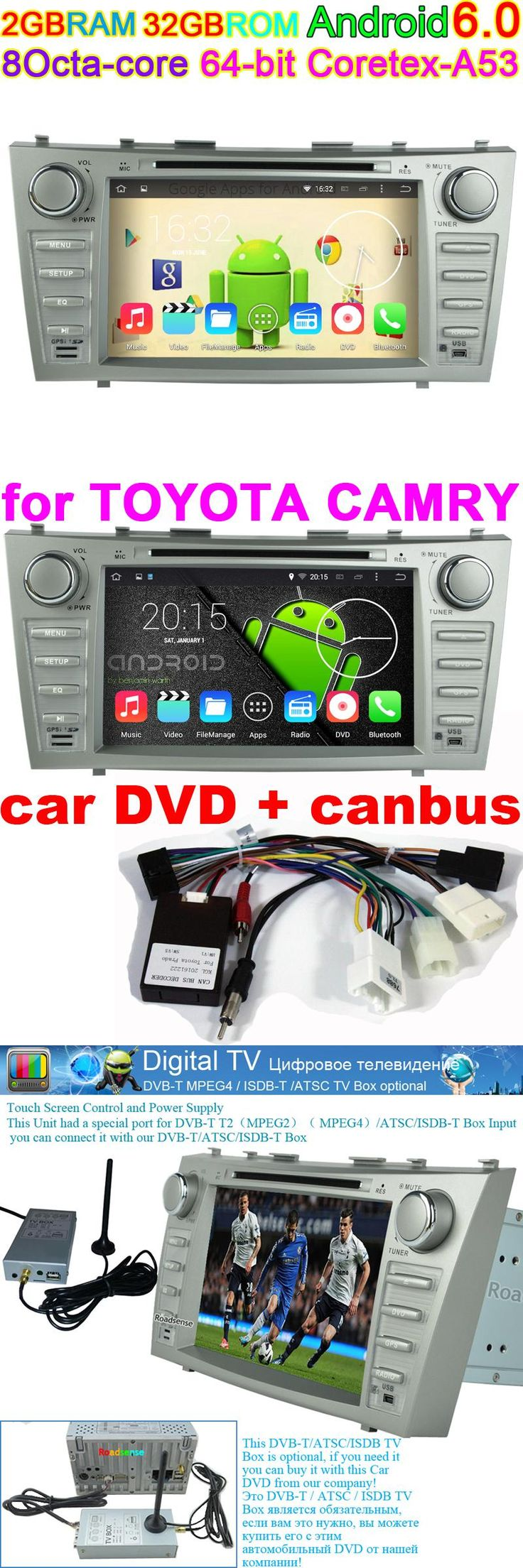 [Visit to Buy] Android 6.0 car Radio player for Camry 2006 2007 2008 2009 2011 GPS Navigation Central Multimedia System DAB Stereo DVD Unit DVR #Advertisement