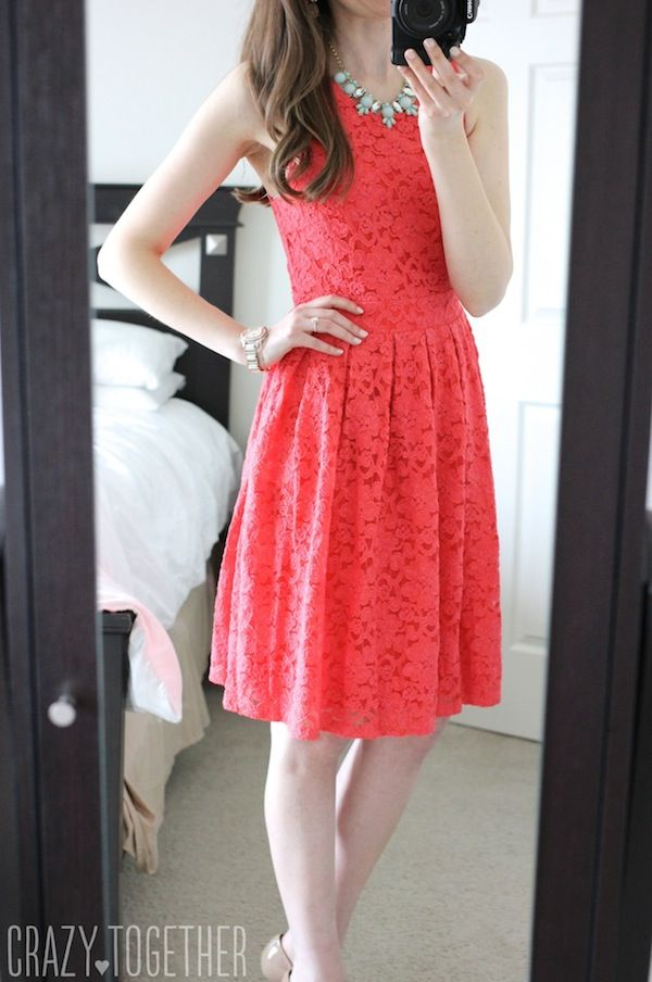 coral BRIXON IVY Nickole Sleeveless Lace Fit & Flare Dress from Stitch Fix … I love coral, I love fit and flare dresses.  I love