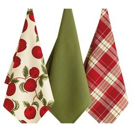 Three cotton kitchen towels.   Product: 3 DishtowelsConstruction Material: CottonColor: Green, red and ivoryFeatures: Apple motif Dimensions: 28 x 18 eachCleaning and Care: Machine washable