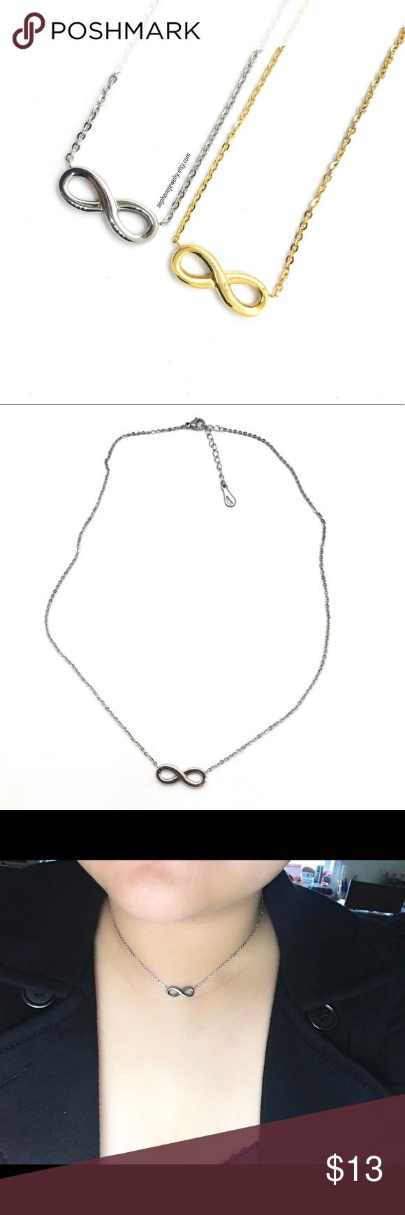 Infinity Necklace, Silver Finish, Everlasting Love Infinity Necklace ** this listing is for Silver Color ** Can be worn as a choker or regular necklace. Perfect layering piece.  The meaning behind an infinity necklace is actually quite beautiful - it symbolizes eternity, empowerment, and everlasting love.  Dimensions Chain: 16 inches length with 2 inches extensions Pendant: 20 mm x 8 mm  Material:  Stainless Steel  Most higher end watches are made of stainless steel. It is strong, durable…
