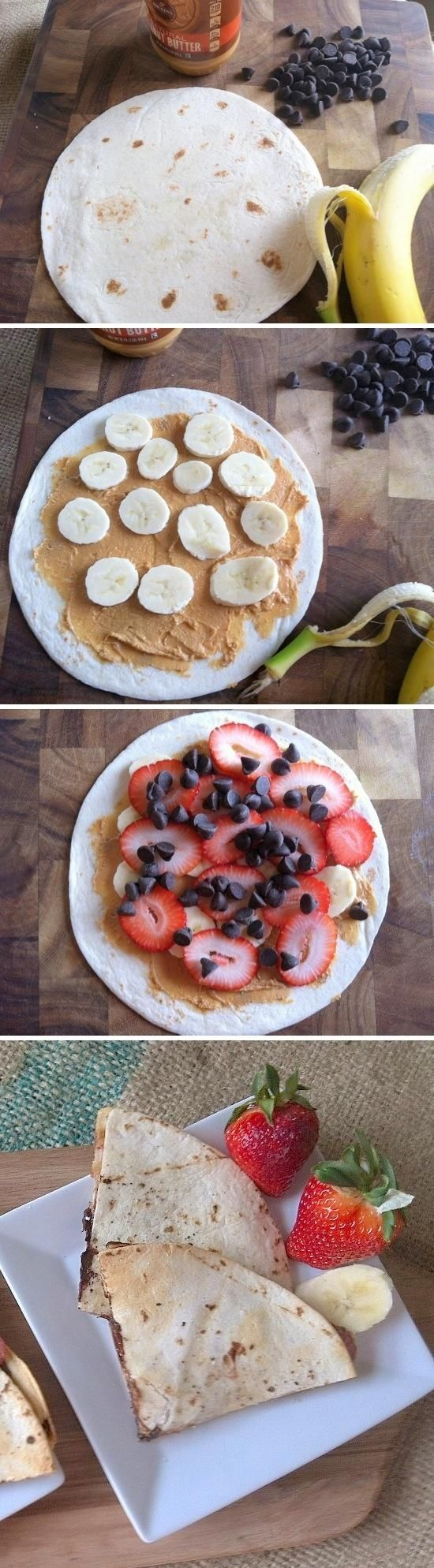 Boys would love this: nutella would be a yummy option too :) joysama images: Breakfast Quesadillas.
