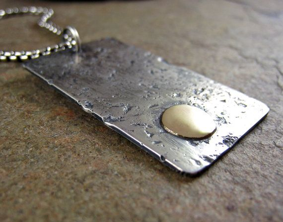 Men's Dog Tag Necklace Solid Gold & Sterling Silver Pendant Heavy Chain Silver and Gold Extra Large Dog Tag Necklace 14k Hammered Handmade