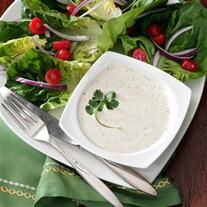 Cilantro Salad Dressing Recipe -Use this zippy dressing over greens or hot or cold boiled potatoes. You'll love it! —Sara Laber, Shelburne, Vermont