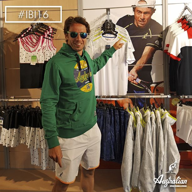 Our Paolo Lorenzi in the ‪#‎Australian‬ store, #Rome . ‪#‎officialsponsorIBI16‬ #IBI16