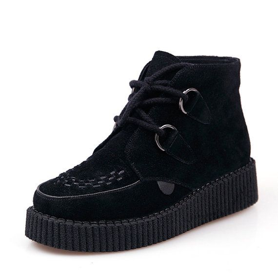 2014 Fashion Women's Black Sexy Lace UP Flat PlatForm Women's Goth Creepers Shoes Punk Wedge High Top Pumps Shoes Warm Ankle Martin Boots