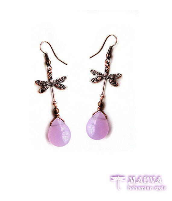 #Dragonfly opal drop #earrings by Maeva  Bohemian Style