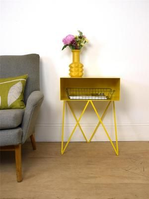Mid Century Style Yellow Metal Bedside Table Vintage