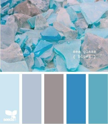 Color Palette: Sea Glass Blues - Beach Cottage DecoratingBeach House Decorating