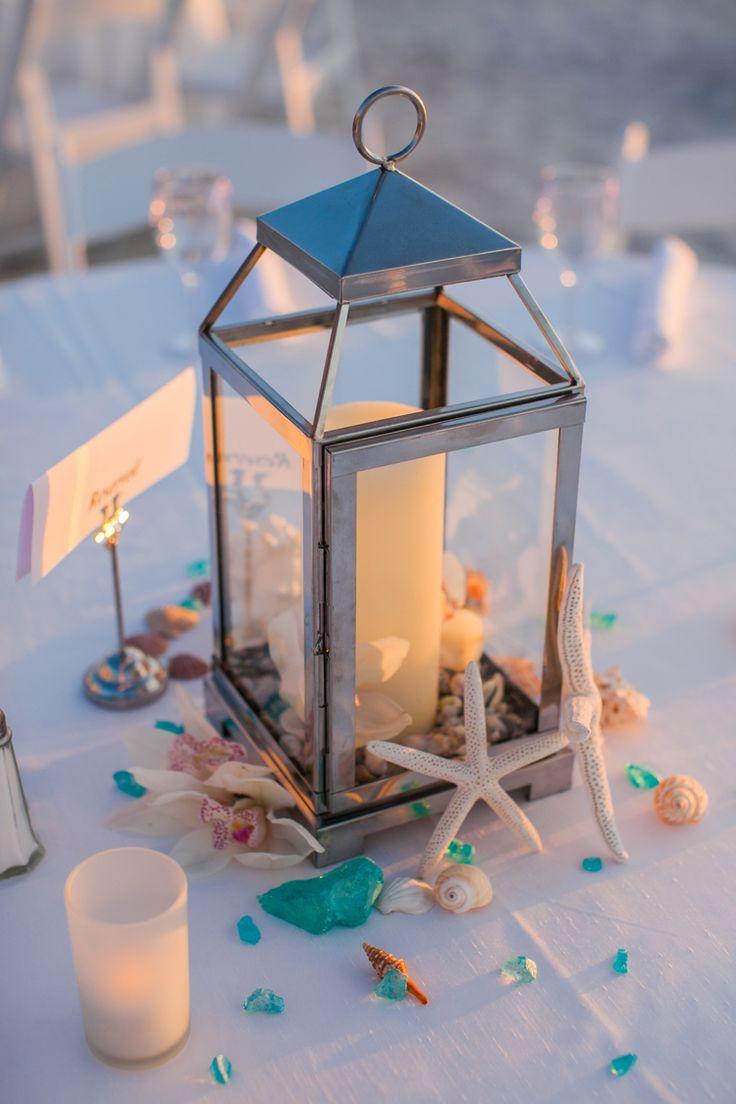Beach wedding centerpiece ideas (Clane Gessel Photography)