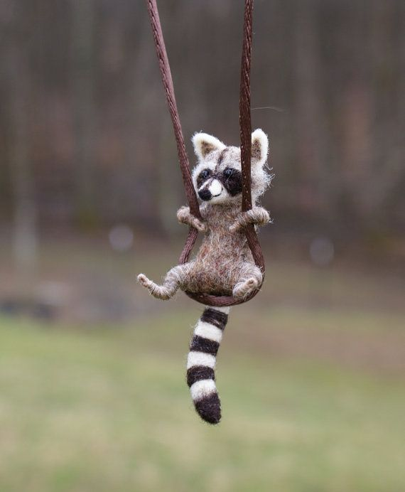 Tiny Raccoon Necklace  needle felted by motleymutton on Etsy