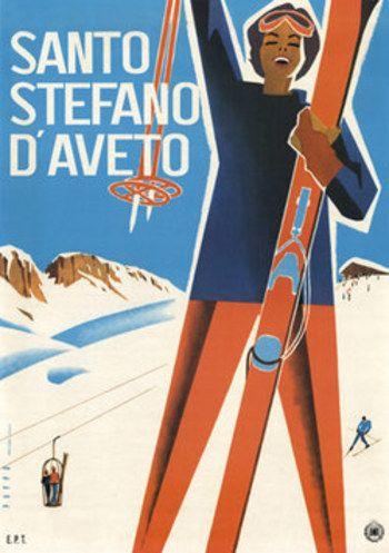 Santo Stefano D'Aveto vintage ski poster