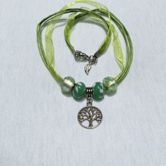 Tree of Life Pendant with Pale Green Blend Glass Beads on Pale Green Organza Ribbon Chain Wedding