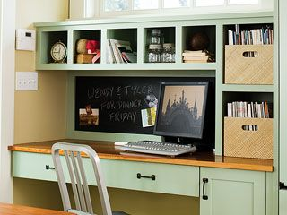 I like the chalkboard wall behind the desk.  Could do that in the kitchen.