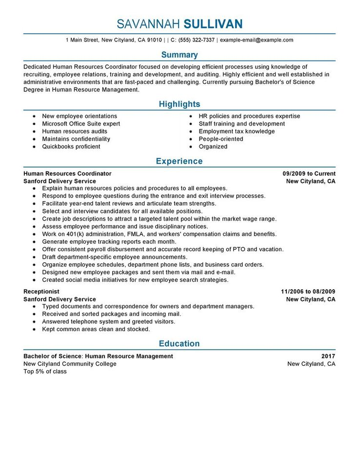 Hr Coordinator Resume Example | Human & Resources Sample Resumes | LiveCareer