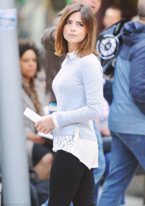 Jenna Coleman filming in Cardiff, Wales - 10 June 2015