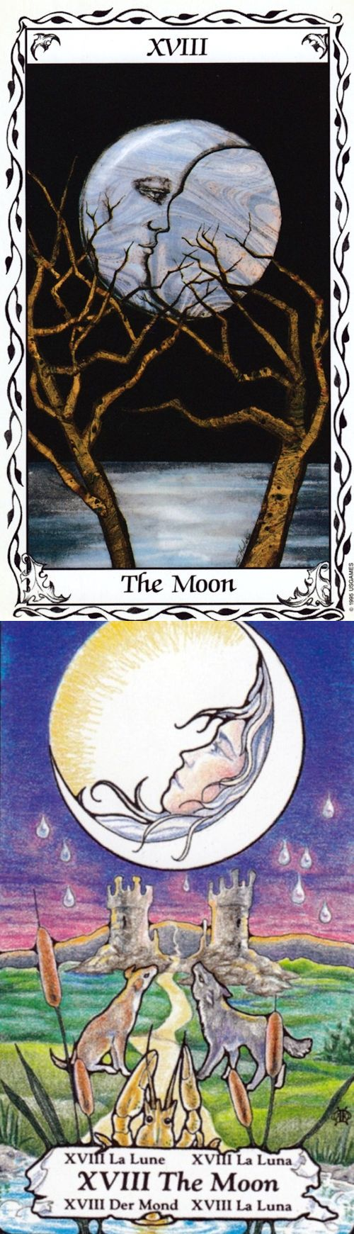 THE MOON: intuition and confusion (reverse). Hudes Tarot deck and Hanson Tarot deck: free tarot reading predictions, tarot card suits vs best free tarot card reading. The best paganism art and spell book.