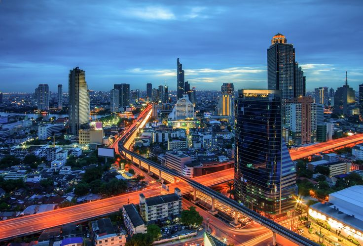 Bangkok city night view - Bangkok city night view with main traffic
