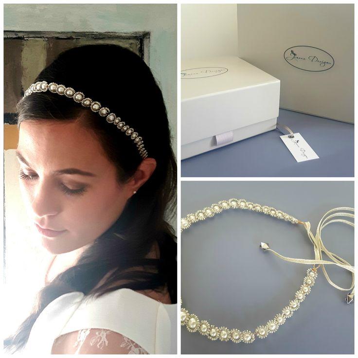 Pearl and gold beaded headband.