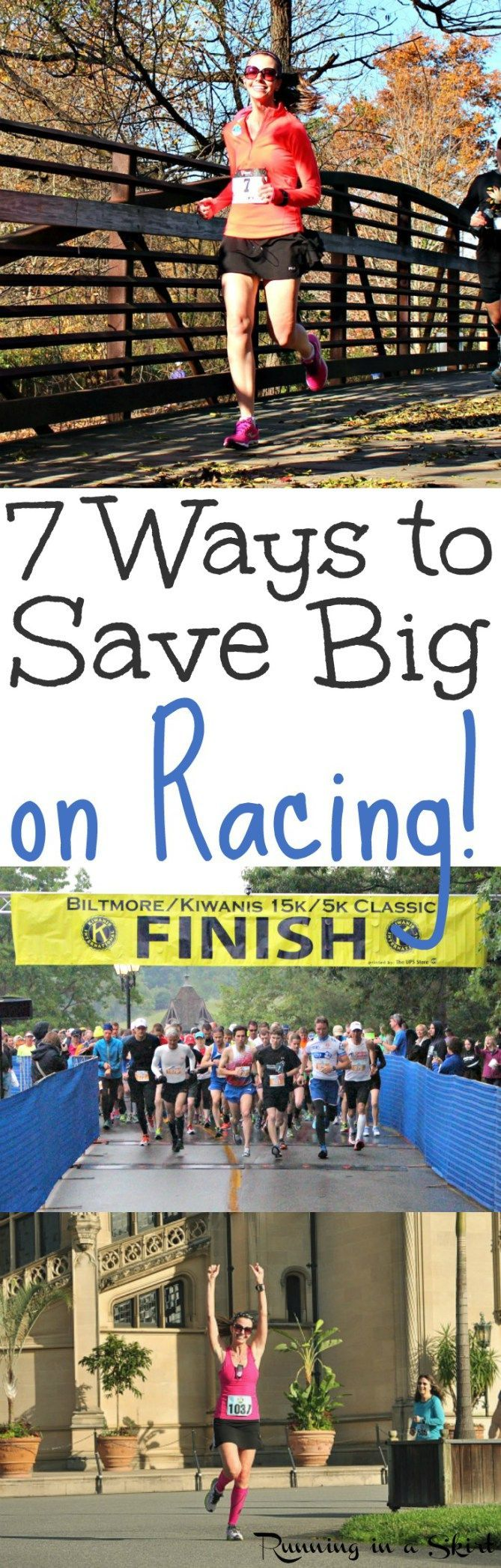 7 Ways to Save Big on Racing! Running tips and tricks to save on your next race registration, shoes and gear.  Great motivation for runners to pay less for a marathon, half marathon (13.1), 10k or for 5k.,,. or even the Color Run!  For beginners or advanced.  Start paying less to race today! / Running in a Skirt