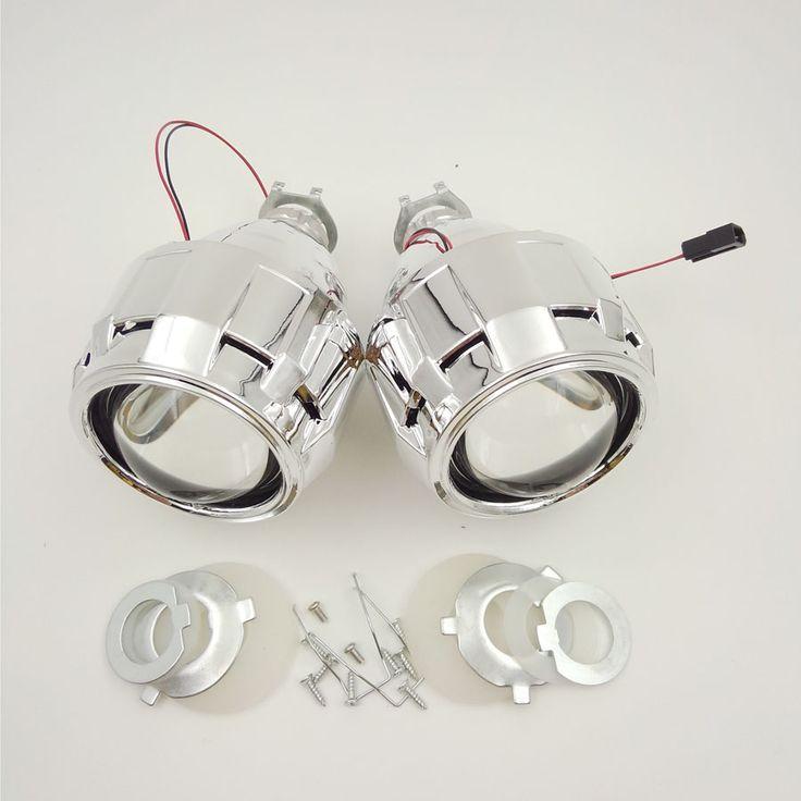 2 PCS 2.5 Xenon Ultimate ''HID Bi Lensa proyektor xenon Parkir Mobil Styling Lampu DIY Lampu untuk H1Bulb dengan kafan H4 H7 Socket