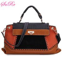 Fashion Retro Patchwork Color Denim PU Leather Handbag Crossbody Bag