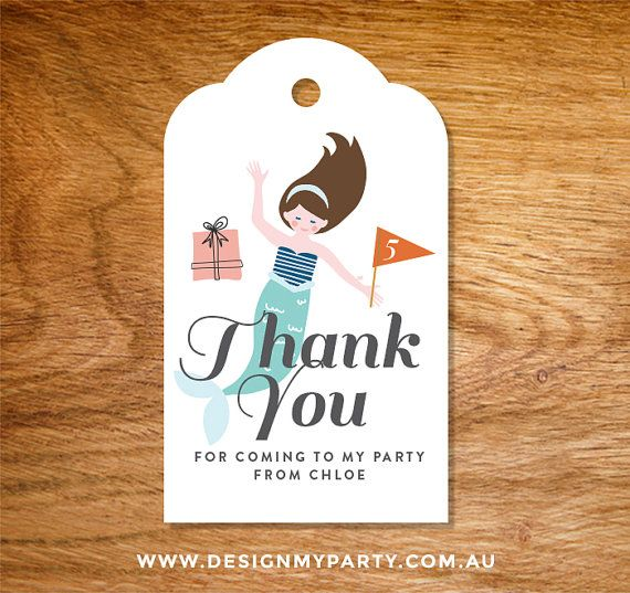 Mermaid Thank you lolly candy bag tags DIY by DesignMyPartyShop