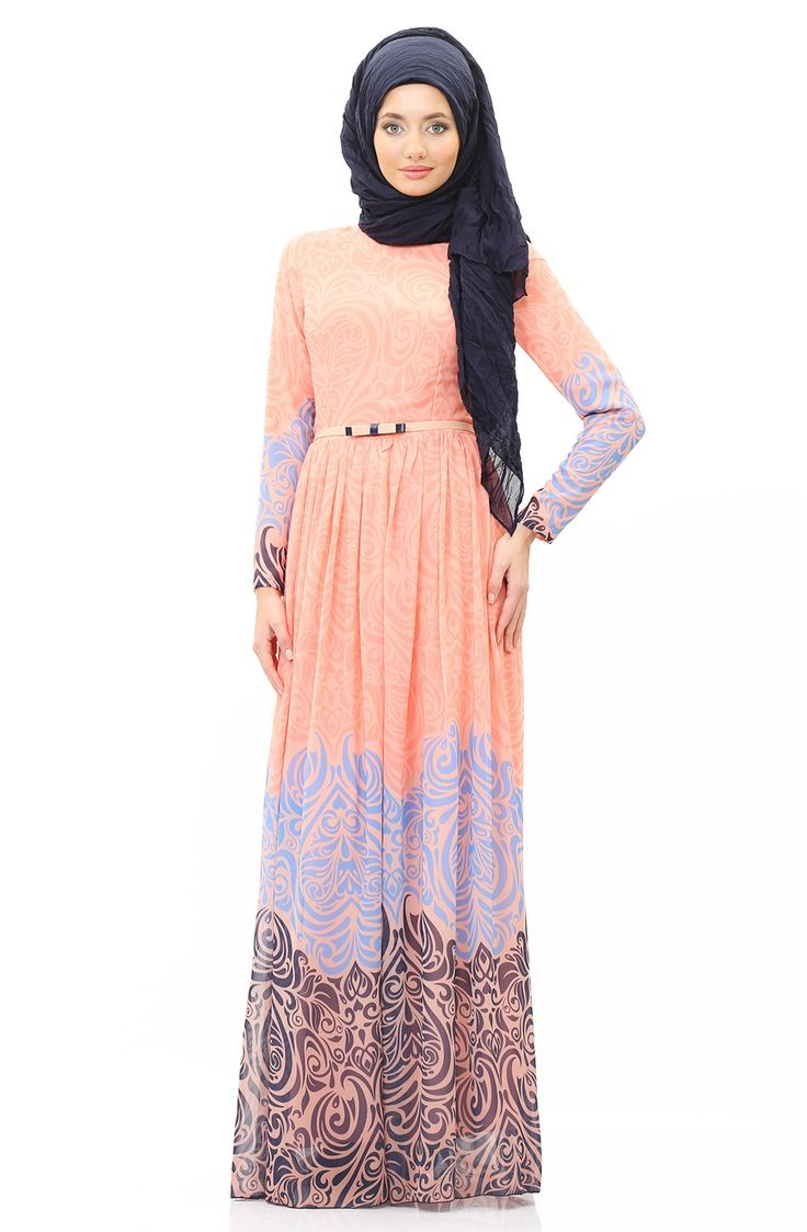 Antik Desenli Elbise SMH17785 Yavruağzı
