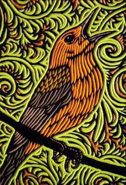 Meadowlark 2 by Lisa Brawn.  Painted cherry woodcut block.  2011
