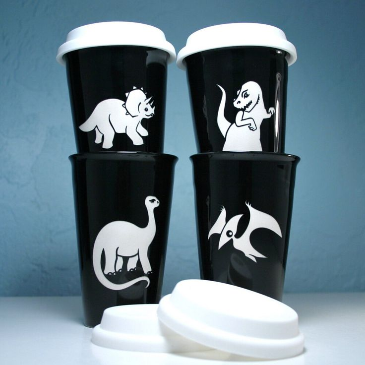 Check out these dinosaur ceramic travel mugs from Bread and Badger!