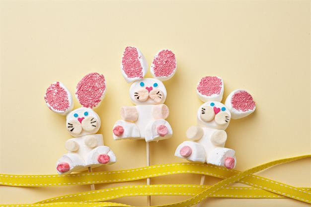 Bouncy bunnies made out of marshmallows.