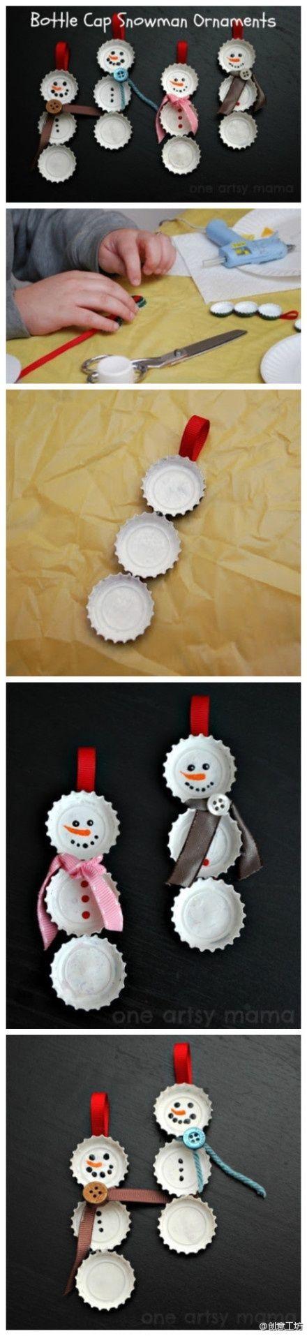 利用废弃的瓶盖制作的小雪人,让这个圣诞节充满小小创意~~~Cool Christmas Crafts , Paper Crafts for Teens , paper, craft, xmas ,wrap, gift, decor,blumen,basteln,bastelvorlage,tutorial diy, winter kids crafts, recycled, crafts , snowman, decoration,xmas