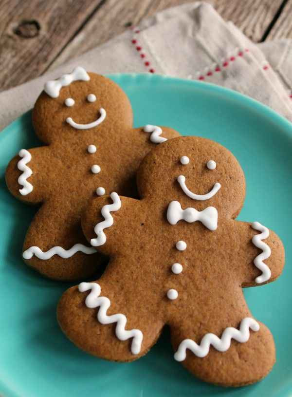 Gingerbread Cookies!  Made these as part of a Christmas cookie lineup and LOVED them!  The dough rolled out and cut easily, they baked smoothly, and they tasted perfectly soft and gingerbready.  MMMM!!!