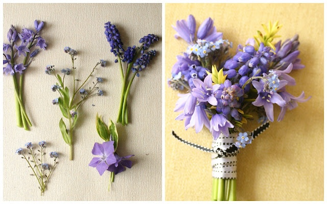 sweet buttonholes - bluebells, muscari and forget me nots.  I think its the muscari I like