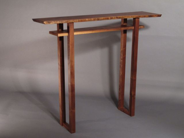 Minimalist modern zen small bar table in walnut, cherry and tiger maple- Handmade custom furniture by Mokuzai Furniture