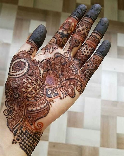 easy simple arabic mehndi designs for left hand front side