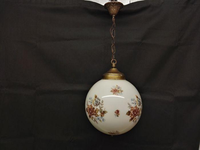 Catawiki, pagina di aste on line  Lampadario in vetro con decori floreali - Diametro cm  25