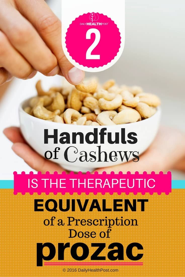 All nuts and seeds contain beneficial fats, B vitamins and magnesium for a healthy mood, but cashews are one of the few actually linked to reducing not just anxiety, but also warding off general stress and even mild depression.�