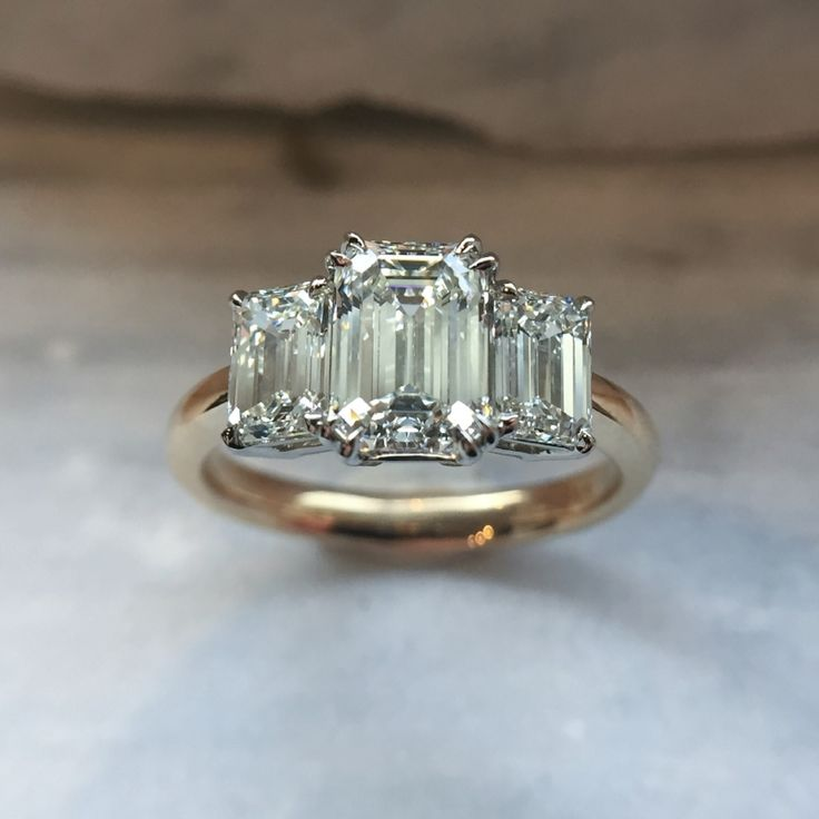 Sweet Life: Jewelry And Diamonds At Honey Jewelry Co - emerald cut three stone engagement ring in yellow gold