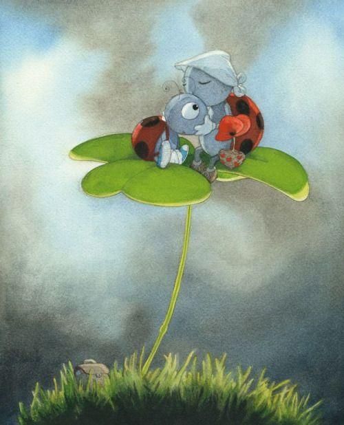 maya47000: Ce matin au fond du jardin, une souris cueille une fraise sauvage pour son amie, deux coccinelles se réveillent.. C. Ponti This morning at the back of the garden, a mouse picks a wild strawberry for her friend, two ladybirds wake up.. C. Ponti