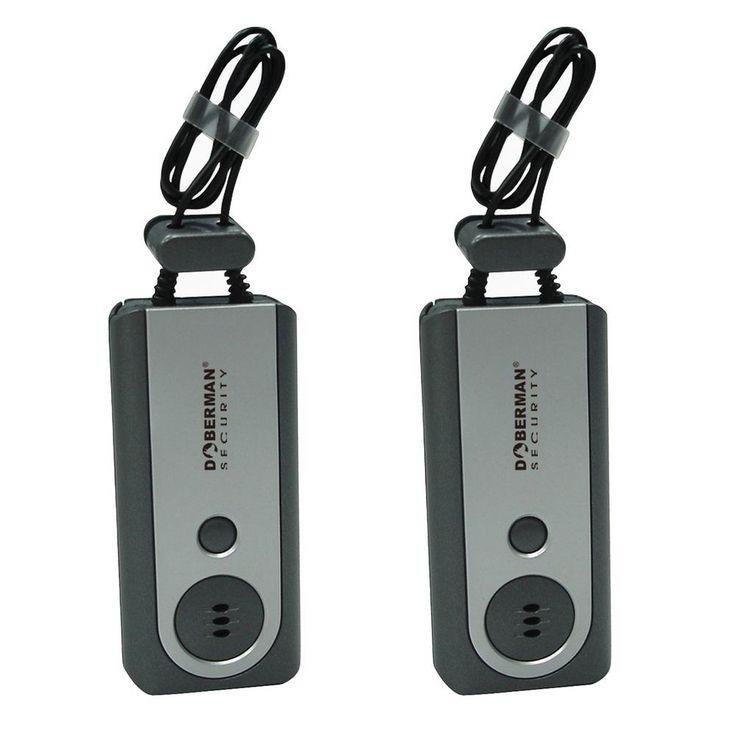 Doberman Security Portable Door Alarm with Flashlight (2-Pack)